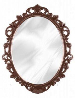 Зеркало Зеркало  [АЖУР] 58,5*47,0*2,5см ТЕМНО-КОРИЧНЕВЫЙ. Зеркало имеет овальную  форму и глянцевую раму, имитирующую ажурные узоры. Зеркало имеет три цветовых решения, благодаря которым, оно подойдет
