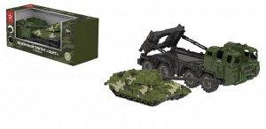 Машинка НОРДПЛАСТ Тягач военный Щит с танком (камуфляж)98