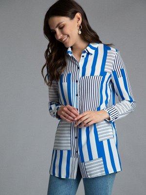 Блузка Состав ткани: Полиэстер 77%, Вискоза 20%, Эластан 3% Длина: 74 См. Описание модели Энергичная геометрия. Прямая, удлиненная блузка рубашечного кроя с длинными рукавами. Акцентный принт с оригин