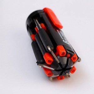 Фонарик функциональный, 4 диода, набор из 5 отверток, зажим