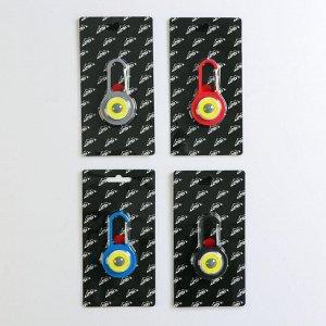 Фонарь-карабин, светодиодный, COB, 3вт, 7,5х1,5см(2 бат cr2032) микс