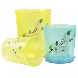 Горшок для орхидеи пластмассовый 1,8л, д14см, h15см, зелено-