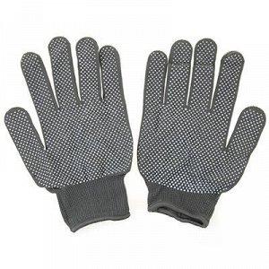 Перчатки нейлоновые с ПВХ, размер M, серый (Китай)