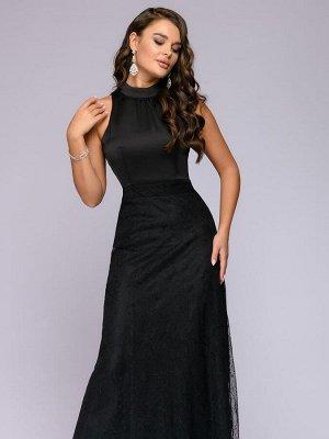 Платье черное длины макси без рукавов