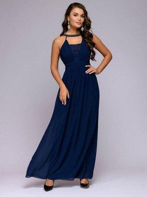 Платье синее длины макси с отделкой жемчугом