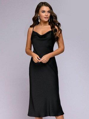 Платье черное длины миди на бретелях