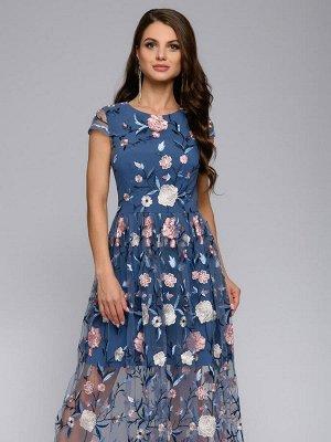 Платье синее длины миди с вышивкой и короткими рукавами