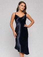 Платье темно-синее разноуровневое на бретелях