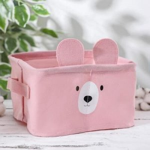 Корзина для xранения с ручками «Мишка», 20?11 см, цвет розовый