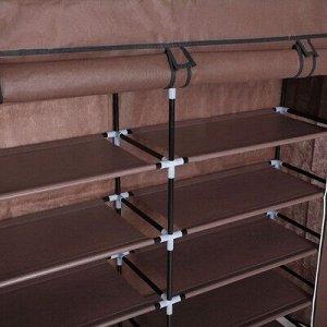 Полка для обуви двойная 6 ярусов, 118?30?120 см, цвет коричневый