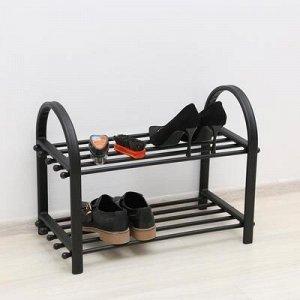 """Обувница 2-х ярусная 55?30?40 см """"Эстель"""", цвет коричневый"""