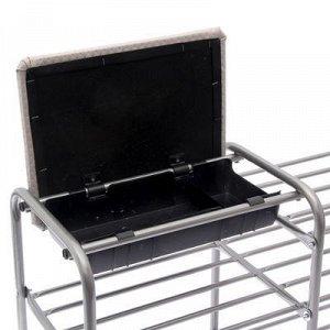 Этажерка для обуви с сиденьем и ящиком «Люкс», 3 яруса, 79?33?50 см, цвет серый