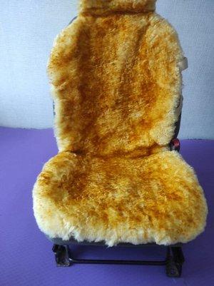 Накидка меховая овчина (натуральный мех, короткий ворс) без подклада Желтый с темными кончиками