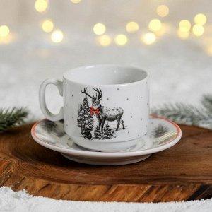 Чайная пара «Новогодняя чёрно-белая,олень», блюдце 14 см, кружка 220 мл