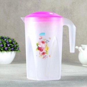 Набор питьевой «Цветы», 5 предметов: кувшин 1,3 л, стакан 4 шт 240 мл, цвет МИКС