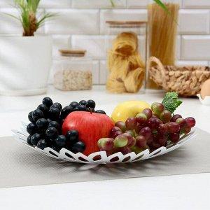 Блюдо для фруктов «Пион», 28,5?28,5?5 см, цвет белый