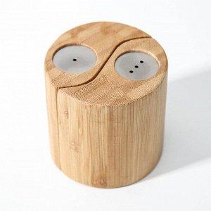 Набор для специй, 7?7см, 2 шт, солонка и перечница, бамбук