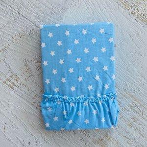 Простынь на резинке на матрац 90х200 голубой мелкие звездочки