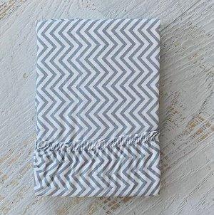 Простынь на резинке на матрац 90х200 мелкий серый зигзаг