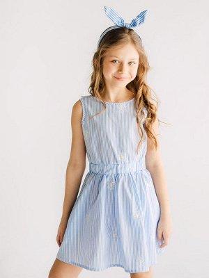 """Платье Хлопок 100%. Цвет голубой. Лёгкое платье из х/б ткани с вышивкой мотива """"одуванчик"""". Платье без рукавов, модель с глубоким """"V""""- образным вырезом на спинке, украшенным воздушной рюшей. Область т"""