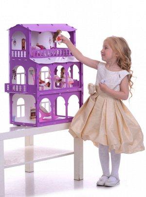 """Домик для кукол """"Дом Бриджит"""" бело-сиреневый (с мебелью) KRASATOYS 000285"""