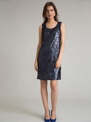 Платье Состав ткани: Полиэстер 100% Длина: 96 См. Описание модели Темно-синее платье-сарафан. Модель с круглым вырезом горловины, прямого кроя, без рукавов. Лаконичны крой в сочетании с тканью с пайет