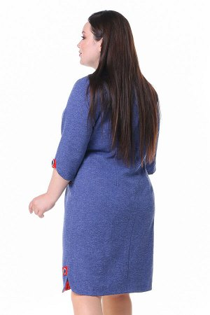 Платье Длина платья: Ниже колена; Материал: Трикотаж; Цвет: Синий; Фасон: Платье; Длина рукава: 3/4 рукав; Параметры модели: Рост 168 см, Размер 54 Платье футляр с пуговками по бокам и на рукавах сине