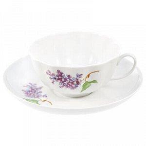 """Чашка чайная фарфоровая """"Сирень эконом"""" 220мл, д9,5см, h5см."""