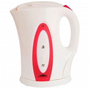 Чайник электрический 2200 Вт, 2 л ЭЛЬБРУС-4 белый с розовым