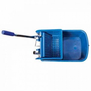 Тележка уборочная-ведро BRABIX, 20 л, механический отжим, синяя, 601497