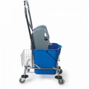 Тележка уборочная BRABIX, 1 съемное ведро 25 л, механический отжим, корзина, металлический каркас, синяя, 601498