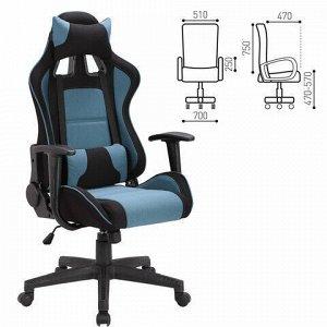"""Кресло компьютерное BRABIX """"GT Racer GM-100"""", две подушки, ткань, черное/голубое, 531818"""