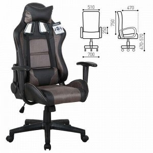 """Кресло компьютерное BRABIX """"GT Racer GM-100"""", две подушки, ткань, экокожа, черное/коричневое, 531819"""