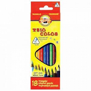 """Карандаши цветные KOH-I-NOOR """"Triocolor"""", 18 цветов, трехгранные, грифель 3,2 мм, европодвес, 3133018004KSRU"""