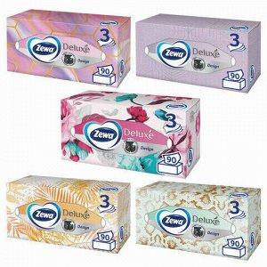 Салфетки косметические 3-х слойные, 90 шт., ZEWA Deluxe Design, в картонном боксе, 28420