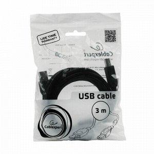 Кабель USB 2.0 AM-BM, 3 м, CABLEXPERT, 1 фильтр, для принтеров, МФУ и периферии, CCF-USB2-AMBM10