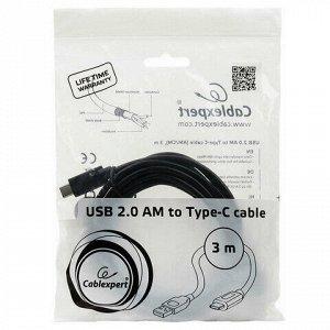 Кабель Type-C-USB 2.0, 3 м, CABLEXPERT, для подключения портативных устройств и периферии, CCP-USB2-AMCM-10, CCP-USB2AMCM-10
