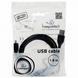 Кабель USB-mini USB 2.0 1,8 м, CABLEXPERT, 1 фильтр, для портативных устройств и периферии, CCF-USB2-AM5P-6