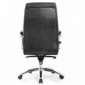 """Кресло офисное BRABIX PREMIUM """"Phaeton EX-502"""", натуральная кожа, хром, черное, 530882"""