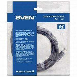 Кабель USB 2.0 AM-BM 1,8 м SVEN PRO, 2 фильтра, для подключения принтеров, МФУ и периферии, SV-015923