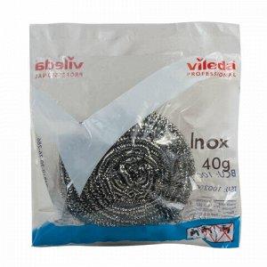 """Губка металлическая VILEDA Professional """"Инокс"""", для стойких загрязнений, нержавеющая сталь, вес 40 г, 100787"""