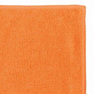 Салфетки универсальные, КОМПЛЕКТ 2 шт., микрофибра, 25х25 см, синяя + оранжевая, ЛЮБАША ЭКОНОМ, 603939