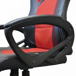 """Кресло компьютерное BRABIX """"Rider EX-544"""", экокожа черная/ткань красная, 531583"""