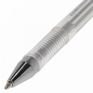 """Ручка гелевая BRAUBERG """"Jet"""", СЕРЕБРИСТАЯ, корпус прозрачный, узел 0,5 мм, линия письма 0,35 мм, 142159"""