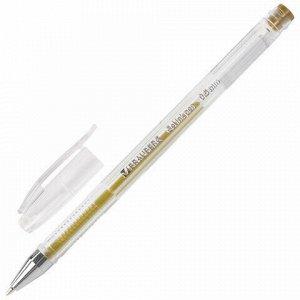 """Ручка гелевая BRAUBERG """"Jet"""", ЗОЛОТИСТАЯ, корпус прозрачный, узел 0,5 мм, линия письма 0,35 мм, 142160"""