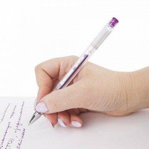 """Ручка гелевая BRAUBERG """"Jet"""", ФИОЛЕТОВАЯ, корпус прозрачный, узел 0,5 мм, линия письма 0,35 мм, 142161"""