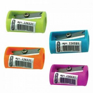 Точилка ПИФАГОР, без контейнера, пластиковая, ассорти, 226531