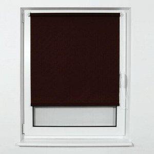 Штора рулонная BRABIX 55х175 см, текстура - лён, защита 55-85%, 200 г/м2, коричневый S-17, 605982