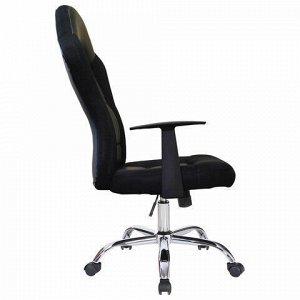 """Кресло компьютерное BRABIX """"Fusion EX-560"""", экокожа/ткань, хром, черное, 531581"""