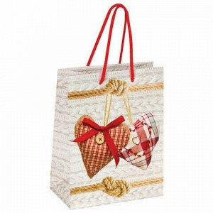"""Пакет подарочный 17,8x9,8x22,9 см, ЗОЛОТАЯ СКАЗКА """"Два сердца"""", ламинированный, 606573"""
